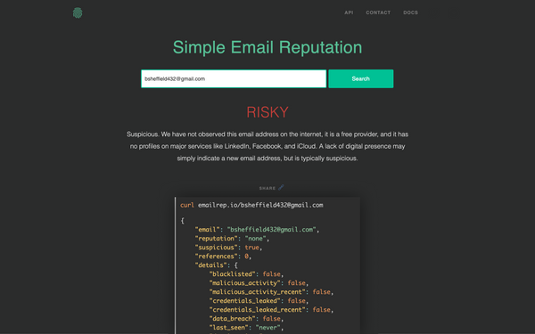 EmailRep: Free API to query email reputation and report malicious senders
